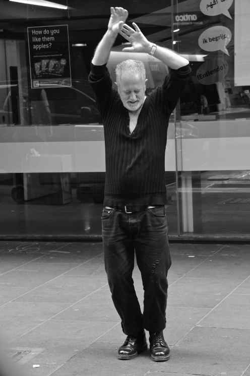 This man gave 'Dancing in the Street' a whole new meaning yesterday. And it was a rather weird combination of Flamenco, Hand Aerobics and Tap Dancing.