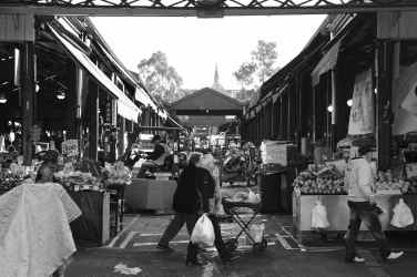 Plenty of shoppers at the Queen Victoria Market despite the cold