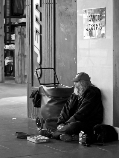 Homeless is a Lonely Place in Melbourn's inner city shopping precinct